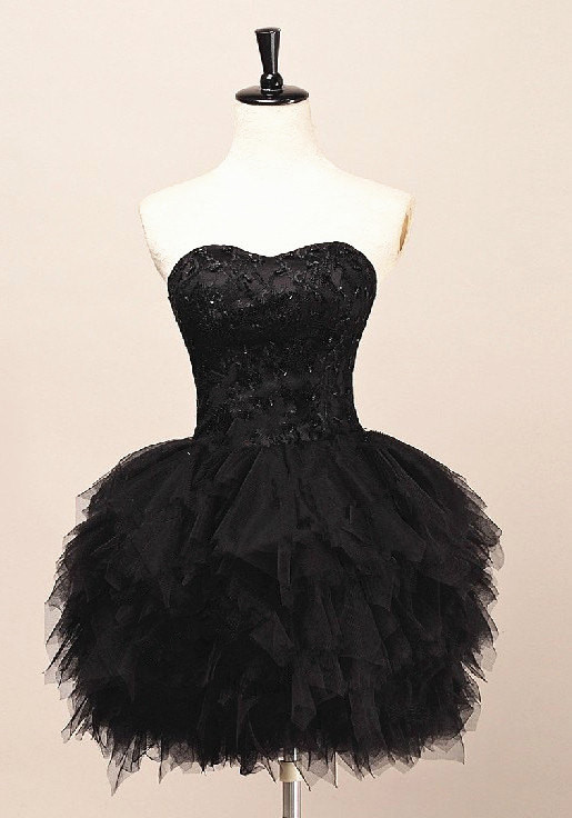 Stunning Short Black Tulle Mini Ruffles Homecoming Dress/Cocktail/Party Dresses for sale  USA