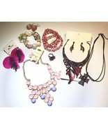 Pretty in pink Jewelry lot of vintage fashion jewelry no broken pieces c... - $25.00