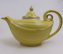 Hall Aladdin Genie Lamp Style Teapot with Infuser Yellow Gold Trim 6 Cup... - $79.20