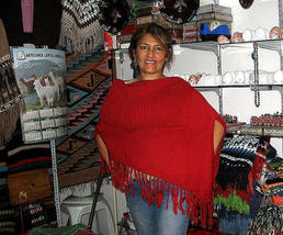 Red Poncho, Cape made with Alpaca Wool,outerwear - $86.00