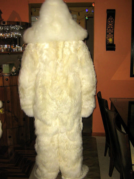 Hooded douple fur Overall,Alpaca pelt, outerwear
