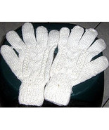 White cable pattern gloves, mittens made of alpacawool - $16.00