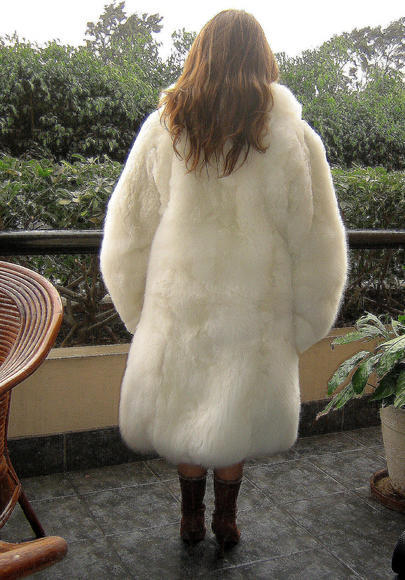 White women Baby Alpaca fur long coat, outerwear, 2X-small