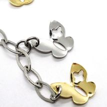 SILVER 925 NECKLACE, CHAIN OVAL, PENDANT WITH BUTTERFLIES YELLOW AND WHITE image 3