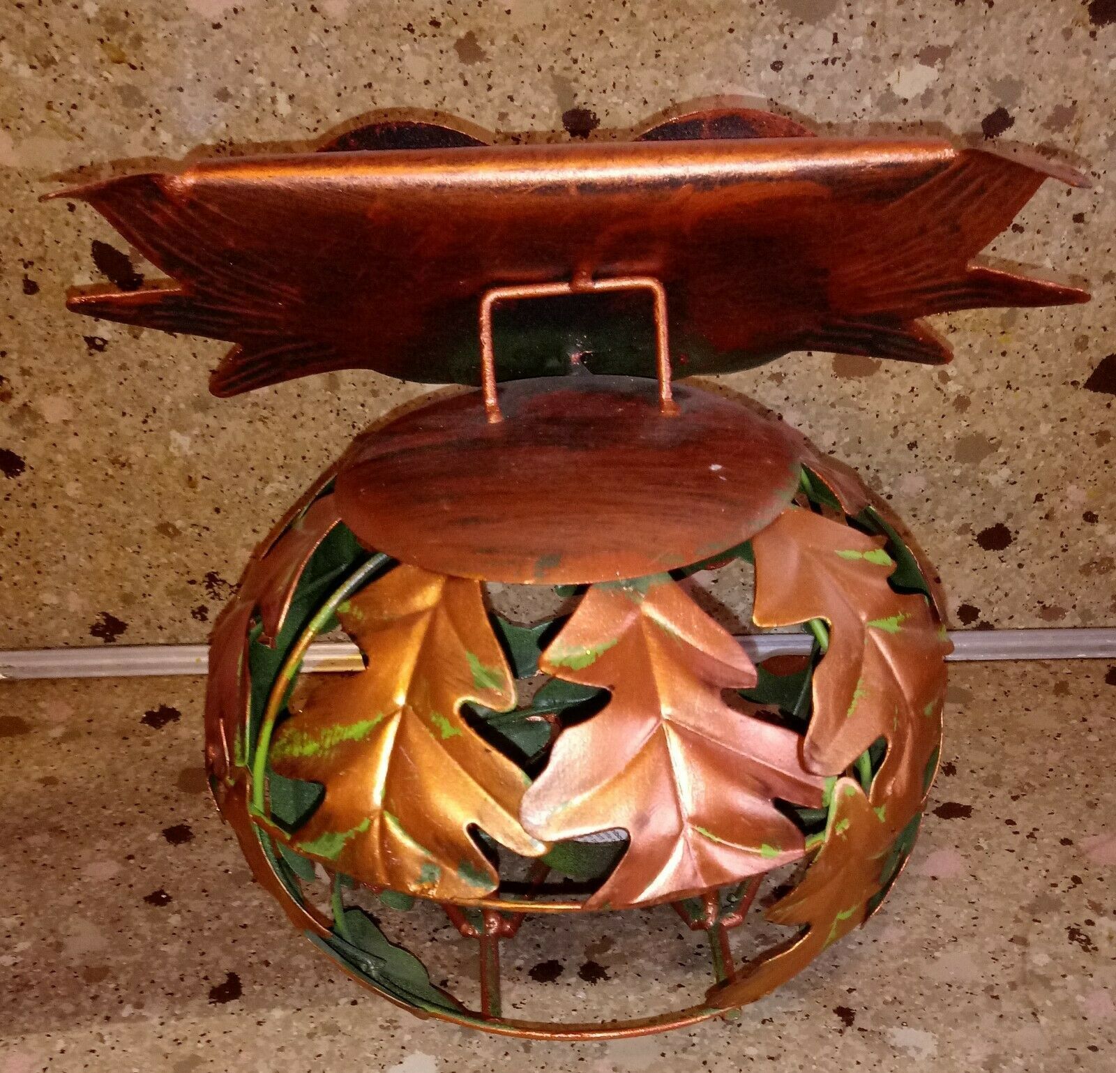 OWL Metal Autumn Tea light Holder Candle Leaves Orange Round