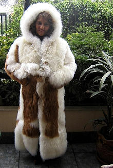 White Baby alpaca fur long coat with a huge hat, 2X - Small