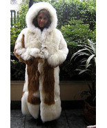 White Baby alpaca fur long coat with a huge hat, 2X - Small - $1,243.00