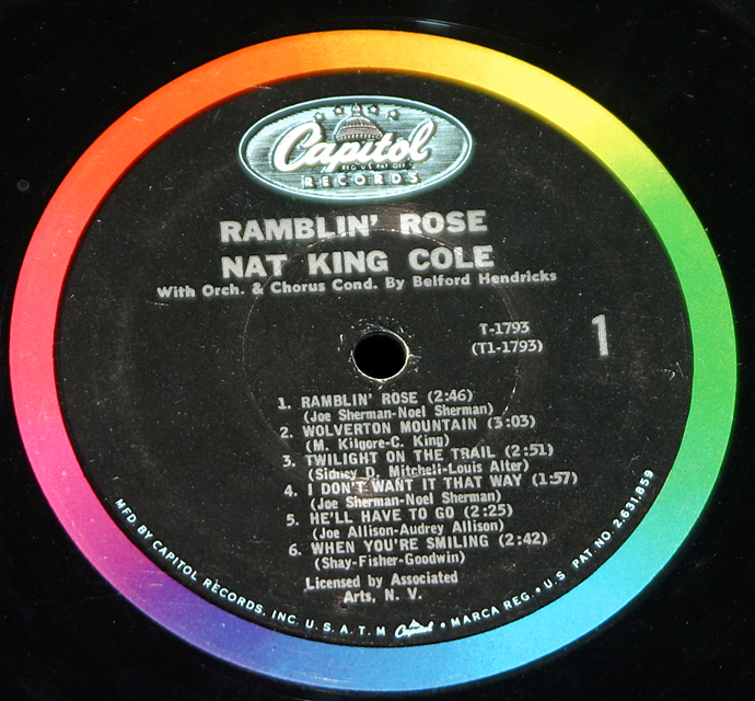"Nat King Cole ""Ramblin' Rose""   LP"