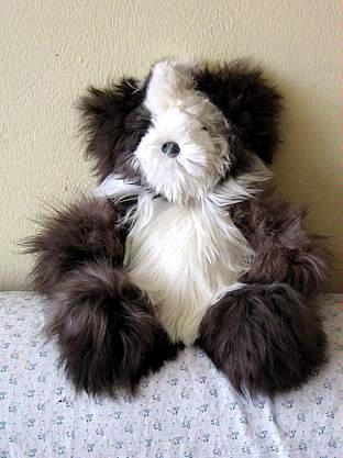 Fur teddy bear, figure made of Suri Alpaca fur, soft toy