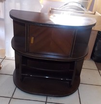 Mid Century Walnut Inlaid Top Copper Lined Smoke Stand with Magazine Rack - $299.00