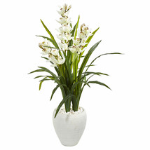 4' Cymbidium Orchid Artificial Plant In White Planter - $176.90
