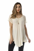 Riviera Sun Loose Fit Mesh Sleeve Lace up Embroidered Tunic Top Blouse S... - $14.95+