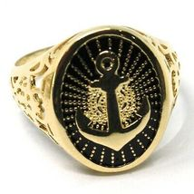 18K YELLOW GOLD BAND MAN RING, NAUTICAL ANCHOR, FINELY WORKED, BLACK ENAMEL image 3
