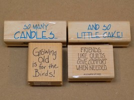 Rubber Stamp LOT So Little Cake Friends Like Quilts Growing Old For Birds Candle - $14.99