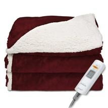 Sunbeam Heated Throw Blanket|Reversible Sherpa Royal Mink 3 Heat Setting... - €62,80 EUR