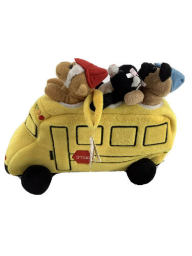 Primary image for Plush School Bus with Finger Puppets Unipak Monkey Dog Cat Toy Playset
