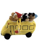 Plush School Bus with Finger Puppets Unipak Monkey Dog Cat Toy Playset - $15.88