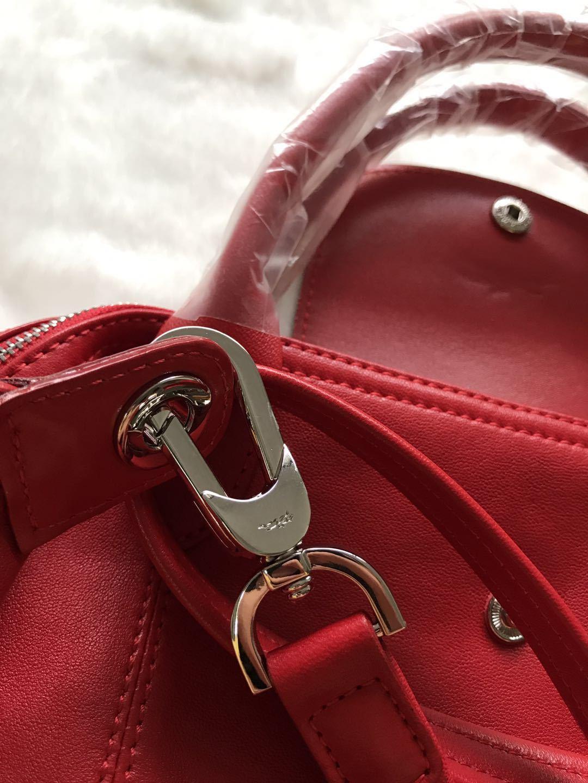 Longchamp Le Pliage Cuir Top Handle Hand Bag Medium Size Red Auth