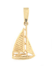 Sail boat Unisex 14kt Yellow Gold Charm - $79.00