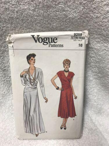 Vogue 9259 Misses Evening Dress Vintage Sewing Pattern