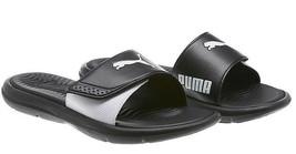 PUMA Womens' Adjustable Strap Surfcat Slide Sandals - Black/White - Size 7 - $15.83