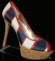 Guess multi-colored striped canvas peep toe slip on cork platform heels 9M - $33.34