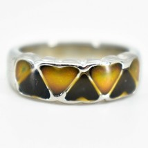 Heart Shape Multi-Color Changing Contrasting Silver Painted Mood Ring