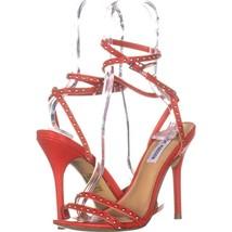 Steve Madden Wish Studded Ankle Strap Sandals 715, Red, 7.5 US - $29.75