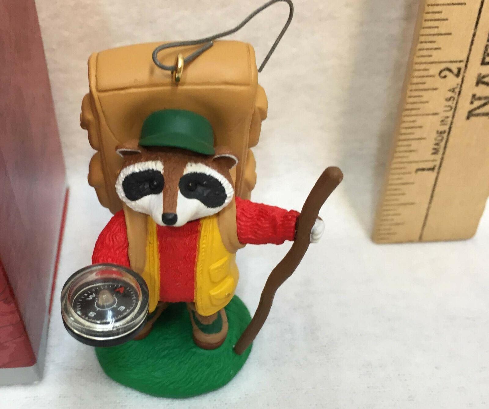 Holiday Camper Hallmark Keepsake Ornament Hiker Raccoon Figure 1998 Compass