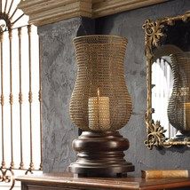 "New Large 26"" Aged Finish Candle Holder Woven Metal Globe Hurricane Style Top - $261.80"
