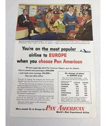 Pan American The Most Popular Airline To Europe Vtg 1954 Print Ad Art - $9.89