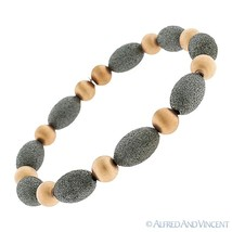925 Sterling Silver Matte / Satin Finish Oval Bead Link Italian Stretch Bracelet - $89.59
