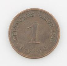 1875 German 1 Pfenning Minted in Darmstadt Better Date Very Fine KM# 1 - $59.40
