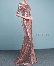 Half Sleeve Fit Gold Maxi Sequin Dress Wedding Party Maxi Gold Sequin Dress Gown image 7