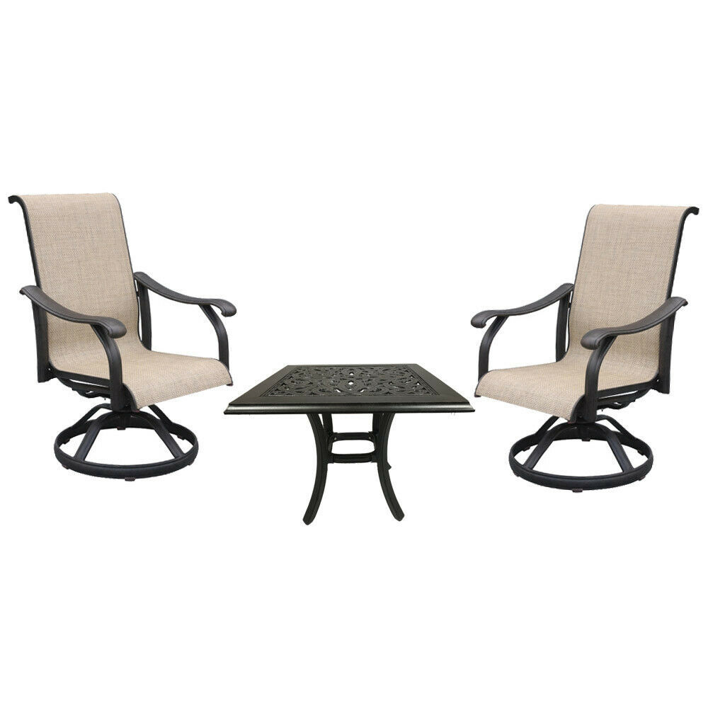 Cast aluminum sling rocker patio dining chairs set of 3 with outdoor end table.
