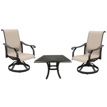 Cast aluminum sling rocker patio dining chairs set of 3 with outdoor end table. image 1