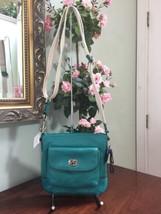 New Coach Park Leather Crossbody Bag Bright Jade Green Turn-lock F49170 B6 - $96.30