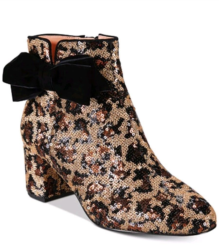 Primary image for kate spade new york Leopard Print Langley Bow Booties $350 Mult Sz