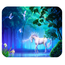 Mouse Pad Unicorn Beautiful In White Horse With Bird Nature Design Anima... - $9.00