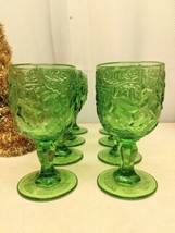 "SET OF 8 Madonna Inn Water  Goblet Bright GREEN WILD ROSE Large 6 1/2"" B... - $99.00"