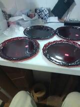 "4 Avon Red Dinner Plates 10 1/2"" Cape Cod - $36.75"
