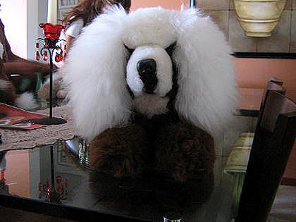 Dog handmade of pure Babyalpaca fur, soft toy figure