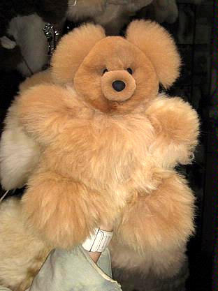 Pelt teddy bear, 35 cms. figure handmade of Alpaca fur,teddi
