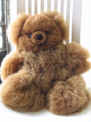Fur teddy bear, pure Babyalpaca fur toy 17.5 inch. 35 cms.