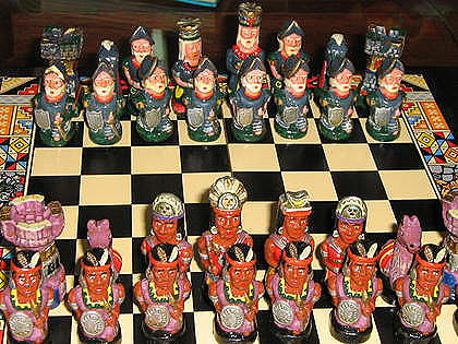 Hand painted ethnic Chess Set from Peru