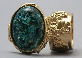 Arty Oval Ring Turquoise Mosaic Shell Chips Vintage Knuckle Art Gold Siz... - $28.99