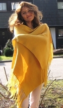 Yellow shawl, wrap made of  alpaca wool  - $112.00