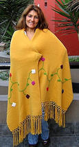 Yellow embroidered shawl, wrap made of Alpaca wool - $175.00