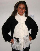 White wool scarf, shawl made of Alpacawool - $39.00