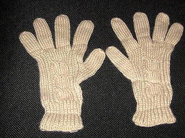 Beige finger gloves,very soft mittens of alpaca wool  - $13.00